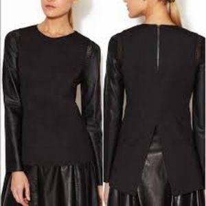 Stella & Jamie Rio Leather Sleeve top / Large